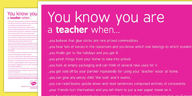 You Know You're a Teacher When Poster - teacher, poster, know