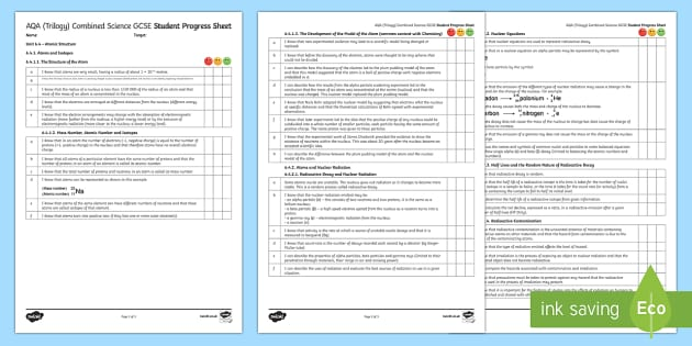 AQA (Trilogy) Unit 6.4 Atomic Structure Student Progress Sheet - Student Progress Sheets, AQA, RAG sheet, Unit 6.4 Atomic Structure