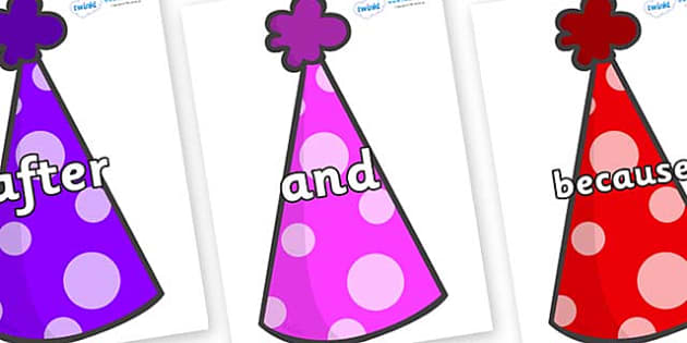 Connectives on Party Hats - Connectives, VCOP, connective resources, connectives display words, connective displays