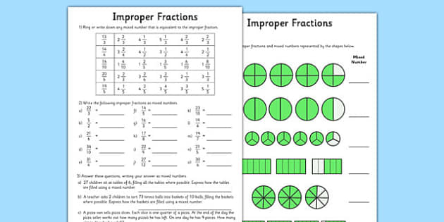 Improper Fractions Worksheets improper fractions worksheets – Mixed and Improper Fractions Worksheet