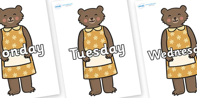 Days of the Week on Mummy Bear - Days of the Week, Weeks poster, week, display, poster, frieze, Days, Day, Monday, Tuesday, Wednesday, Thursday, Friday, Saturday, Sunday