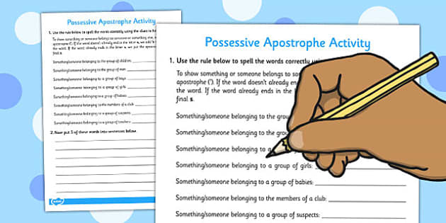 Possessive Apostrophe Activity - possessive, apostrophe, activity