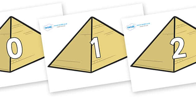 Numbers 0-31 on Pyramids - 0-31, foundation stage numeracy, Number recognition, Number flashcards, counting, number frieze, Display numbers, number posters