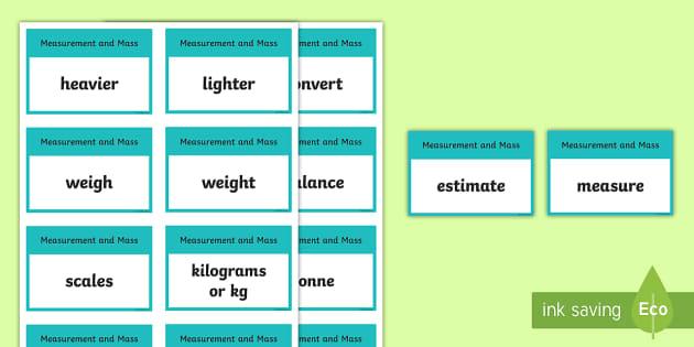 CfE Second Level Numeracy and Mathematics Measurement (Mass) Keyword Flashcards-Scottish - Wall Display, keywords, MNU 2-11a, MNU 2-11b, MNU 2-11c, language of maths, vocabulary, word wall,Sc
