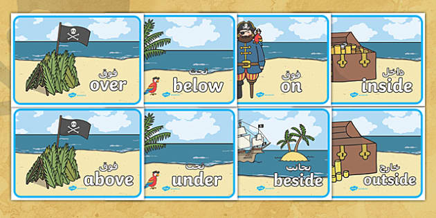 Pirate Positional Language Posters Arabic/English - Pirate Positional Language Posters - positional language, pirates, positional language posters, pira