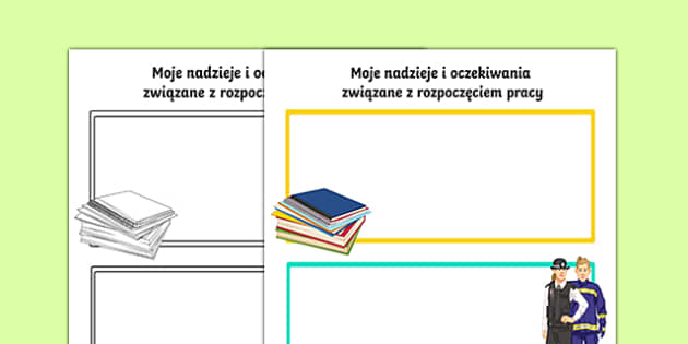 Karta Moje nadzieje i oczekiwania związane z pracą po polsku, worksheet