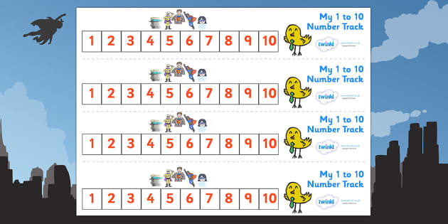 Superhero Number Track (1-10) - Superhero, Maths, Math, number track, numbertrack, Counting, Numberline, Number line, Counting on, Counting back, Superhero, superheroes, hero, batman, superman, spiderman, special, power, powers, catwoman, liono, he-m
