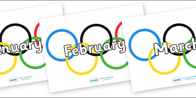 Months of the Year on Olympic Rings - Months of the Year, Months poster, Months display, display, poster, frieze, Months, month, January, February, March, April, May, June, July, August, September