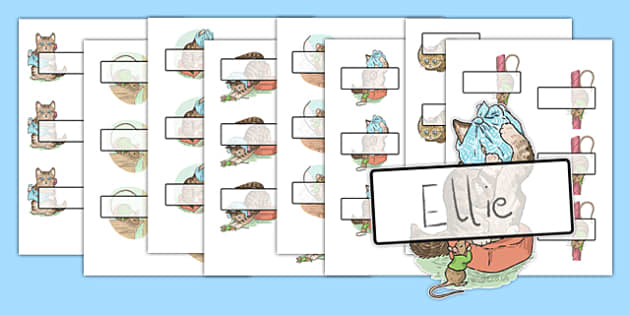 The Story of Miss Moppet Editable Self-Registration - Beatrix Potter, kitten, cat, register