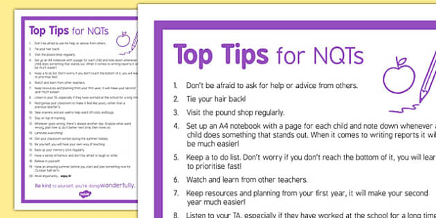 Top Tips for NQTs - top tips, nqts, new qualified teachers, tips