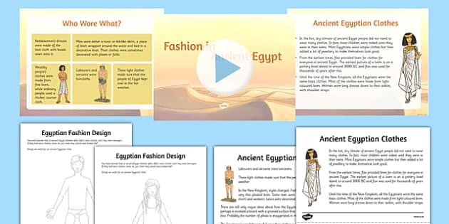 Ancient Egyptian Fashion Teaching Pack - Cfe, Social Studies, Ancient Egypt, Egyptian Fashion