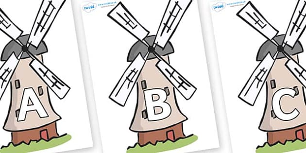 A-Z Alphabet on Windmills - A-Z, A4, display, Alphabet frieze, Display letters, Letter posters, A-Z letters, Alphabet flashcards