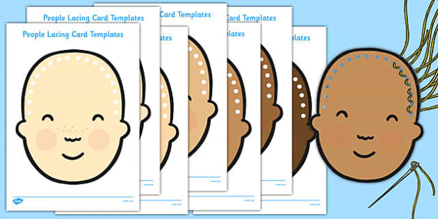 People Themed Lacing Cards  - people, lacing, cards, lacing cards