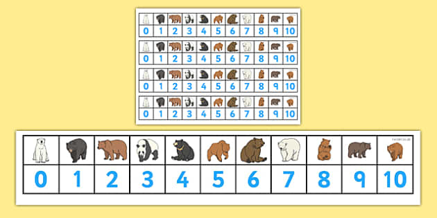 Bears Number Track (1-10) - Maths, Math, Bears, bear, number track, numbertrack, Counting, Numberline, Number line, Counting on, Counting back, animals, polar bear, koala bear, brown bear, grizzly bear, sloth bear,  bear resources