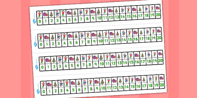Elf Themed Number Lines 0-20 - number lines, elf, 0-20, number