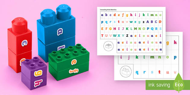 Name Building Connecting Bricks Game - Alphabet, letter recognition, building bricks, fine motor skills