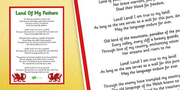 Poster Hen Wlad fy Nhadau gyda geiriau Saesneg - welsh, national anthem, poster, display, english, lyrics