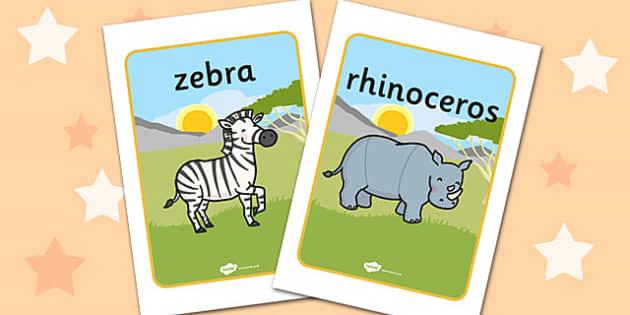 African Animals Display Posters - Africa, Safari, poster, display, banner, background, display, lion, cheetah, puma, jaguar, rhino, hippo, elephant, giraffe, antelope