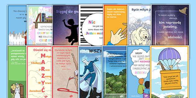Zestaw plakatów motywacyjnych po polsku