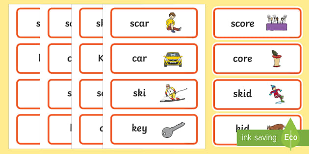 'sk' and 'k' Near Minimal Pair Word Cards - Phonological processes, minimal pairs, near minimal pairs, cluster reduction, articulation, phonolog