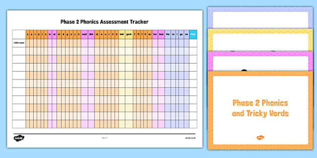 Phase 2 Phonics and Tricky Words Assessment Tracker and PowerPoint Pack - EYFS, letters and sounds
