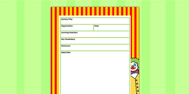 Circus Themed Adult Led Carpet Based Activity Planning Template