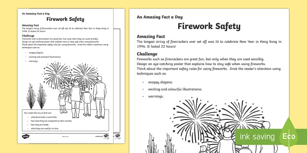 Firework Safety Activity Sheet