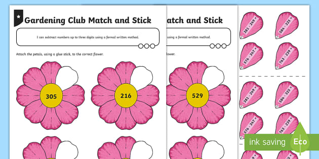 Subtraction Match and Stick Activity Sheet - take, take-away, less, minus, subtract, leaves,  how many more, how many fewe/less than, most, least