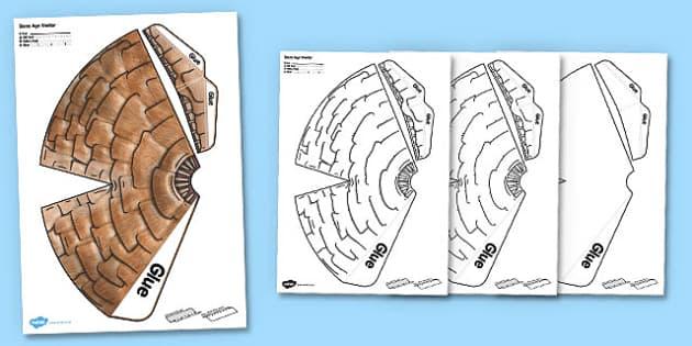 Stone Age Shelter Paper Model - stone age, shelter, paper, model