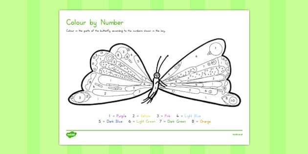 Butterfly Colour by Number to Support Teaching on The Very Hungry Caterpillar - australia
