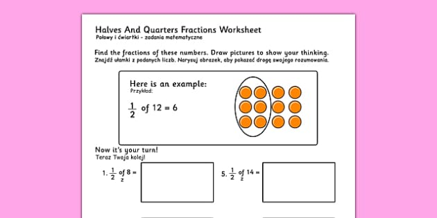 Halves and Quarters Fractions Worksheets Polish Translation