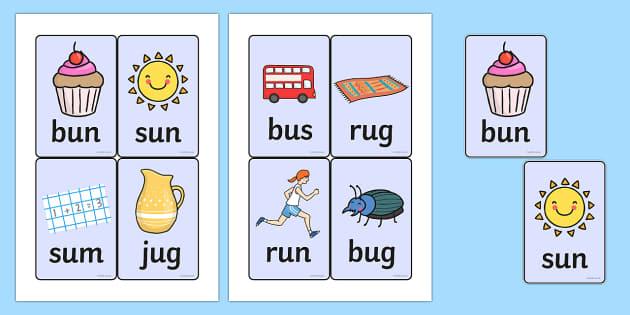 CVC Word Cards (u) - CVC, CVC word, three phoneme words, three sound words, consonant vowel consonant, words, three letter words, letters and sounds, DfES letters and sounds
