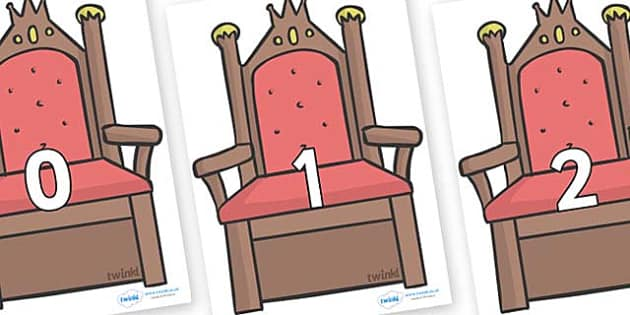 Numbers 0-50 on Thrones (Plain) - 0-50, foundation stage numeracy, Number recognition, Number flashcards, counting, number frieze, Display numbers, number posters