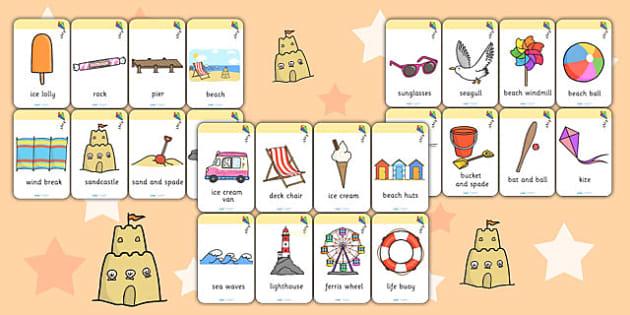 Seaside Flashcards - sea side, seaside, flash cards, word cards