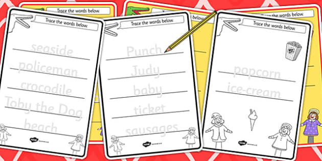 Punch and Judy Trace the Words Worksheets - words, worksheet
