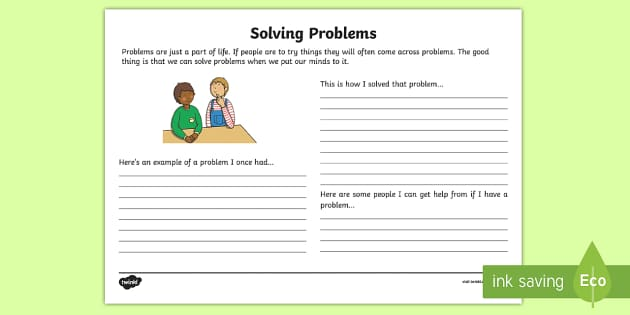 Solving Problems Reflection Writing Template - solving problems, writing template, reflection, solutions, answers, S.P.H.E.