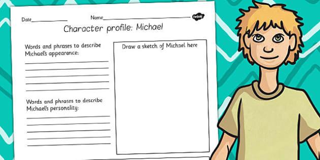 Kensuke's Kingdom Michael Character Profile Writing Frame