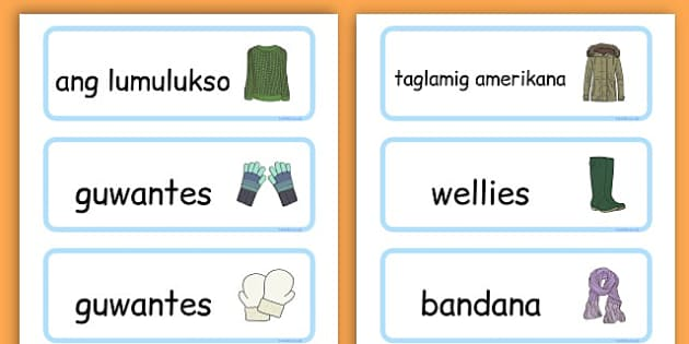 Winter Clothes Word Cards - winter clothes, word cards, winter, clothes - Filipino