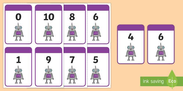 Number Bonds to 10 Matching Cards (Robots) - Number Bonds, robot, robots, Matching Cards, Number Bonds to ten, counting, number recognition