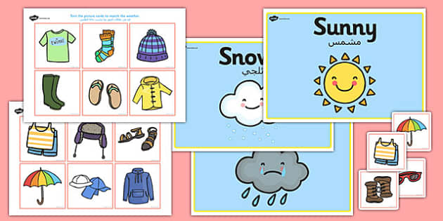 Weather Clothes Sorting Activity Arabic Translation - arabic, weather, clothes, sorting, activity