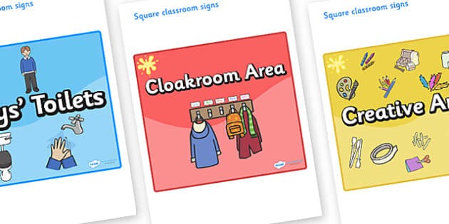 Yellow Themed Editable Square Classroom Area Signs (Colourful) - Themed Classroom Area Signs, KS1, Banner, Foundation Stage Area Signs, Classroom labels, Area labels, Area Signs, Classroom Areas, Poster, Display, Areas