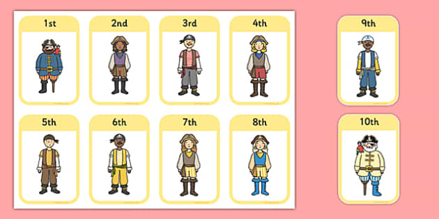 Ordinal Numbers Flashcards Pirates - order, maths