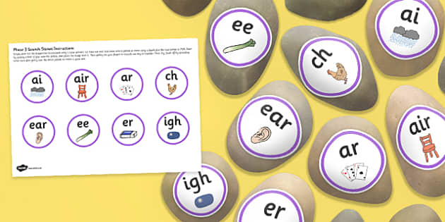 Phonic Phases 3 Sounds Stone Cut Outs - letters and sounds, phonics, early years, ks1, role play, independent activity, kinaesthetic learning