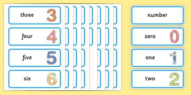 Maths Number System Word Cards 0-20 - maths, mathematics, number system, word cards, 0-20