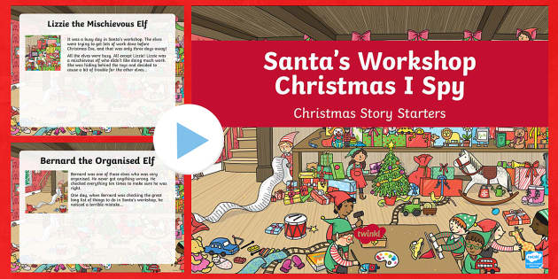 KS1 Santa's Workshop Christmas I Spy Story Starters PowerPoint - Christmas, Nativity, Jesus, xmas, Xmas, Father Christmas, Santa, story starters, Christmas story sta