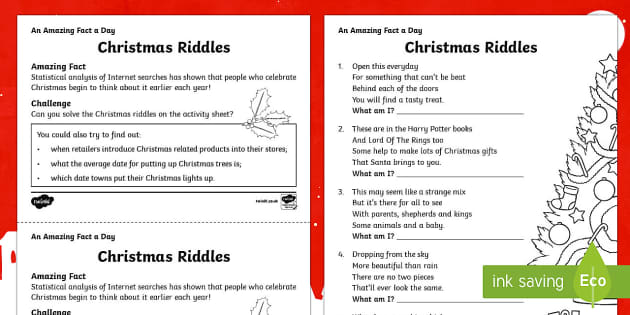Christmas Riddles Activity Sheet