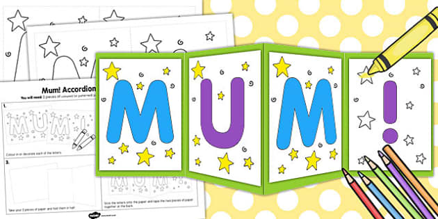 Mum Accordion Card Template - mum, accordion, card, template