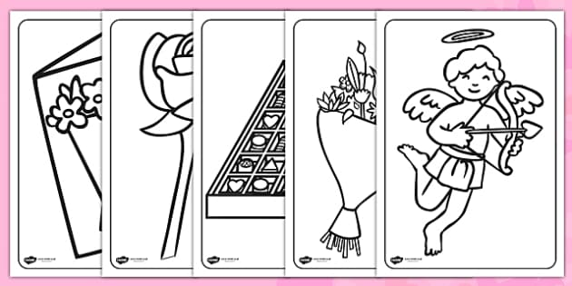 Valentine's Day Colouring Pages - valentines, colour, love, cupid