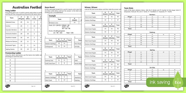 AFL Maths Activity Sheets, worksheet