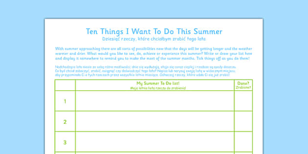 Ten Things I Want to Do This Summer Polish Translation - bucket list, thinking skills, list, planning, year, to do list, bilingual